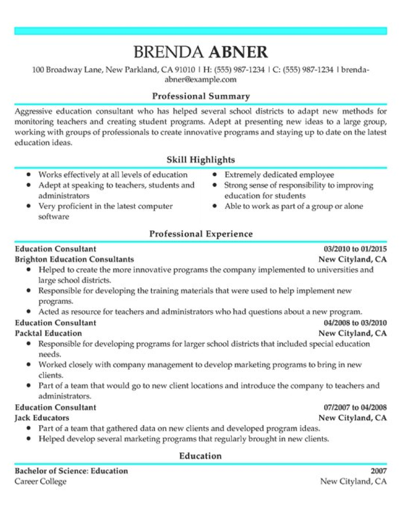 Example Resume from ResumeHelp.com