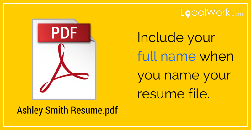 Naming Your Resume File.  Name Your Resume