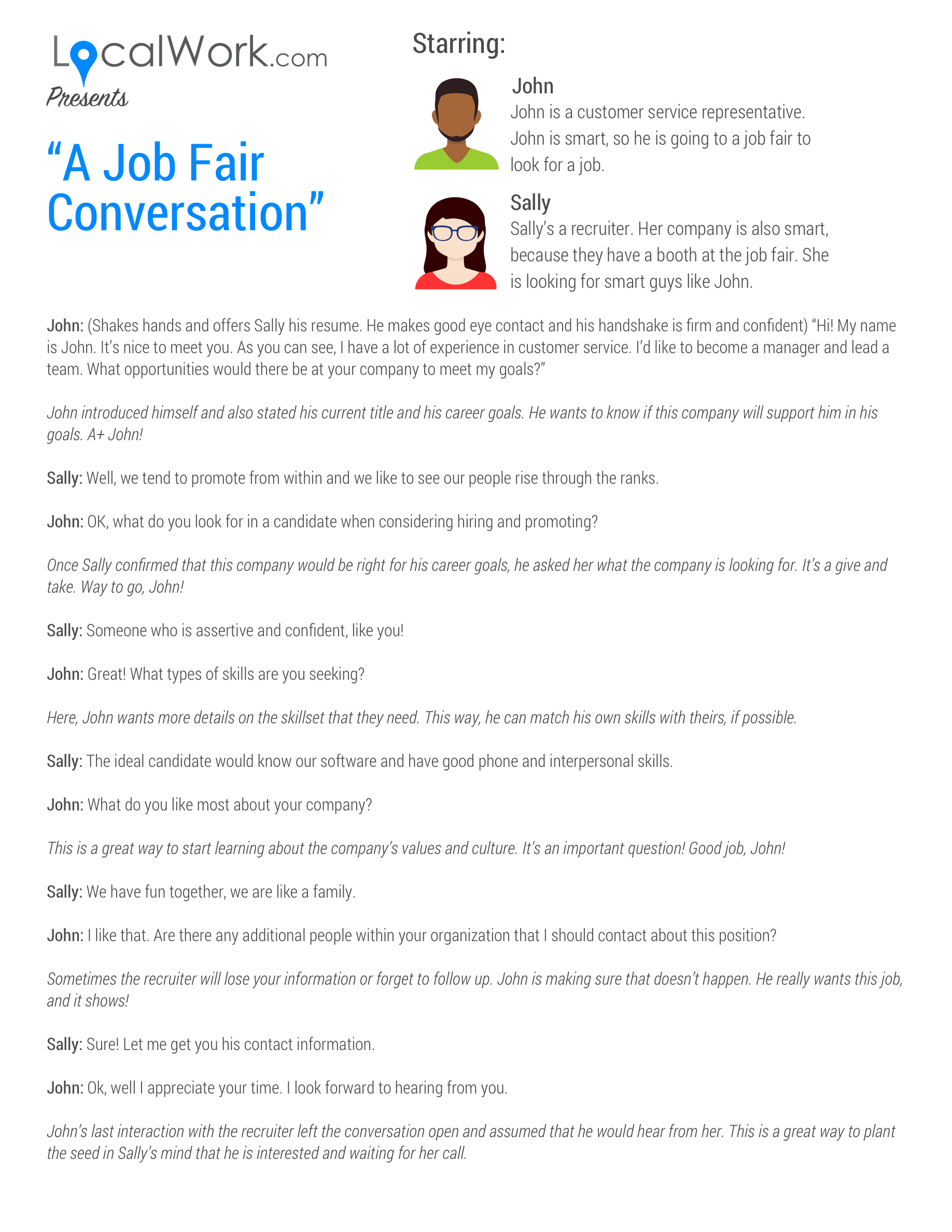 What to talk about at a job fair